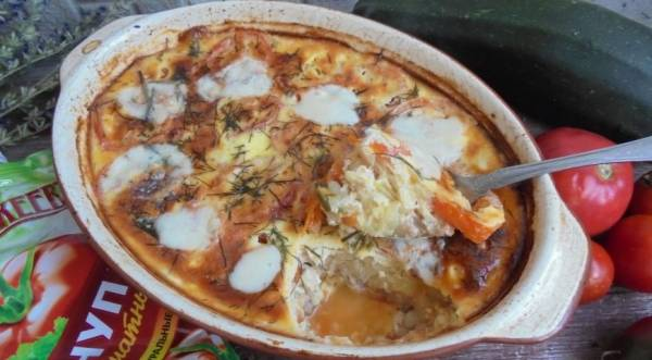 Кабачковая запеканка с моцареллой и томатным кетчупом, пошаговый рецепт с фото