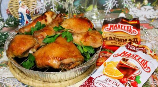 Запеченные куриные окорочка в горчичном маринаде с джемом «Глинтвейн», пошаговый рецепт с фото