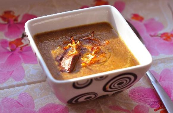 Крем-суп с печенью и грибами