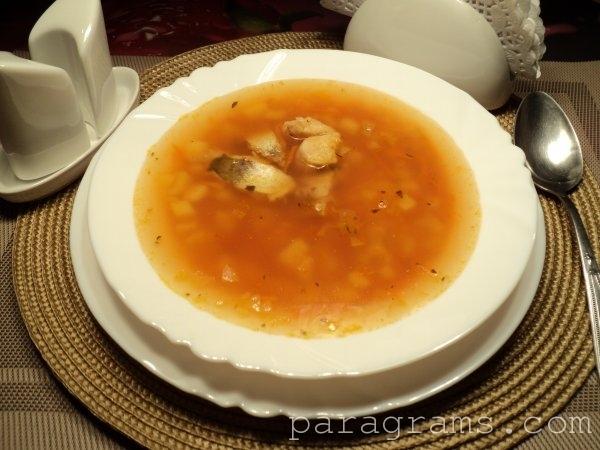 Суп с хеком и рисом
