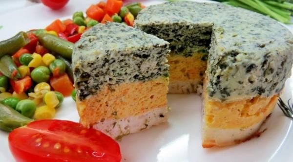 Разноцветная запеканка с куриным фаршем, пошаговый рецепт с фото