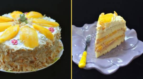 Манговый торт с нежным кремом, пошаговый рецепт с фото