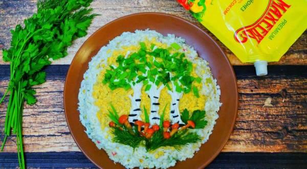 Салат крабовый «Сказочный лес», пошаговый рецепт с фото