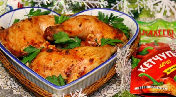 Куриные окорочка, запеченные в кетчупе , пошаговый рецепт с фото