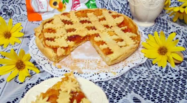 Творожно-абрикосовый песочный пирог с абрикосовым джемом, пошаговый рецепт с фото