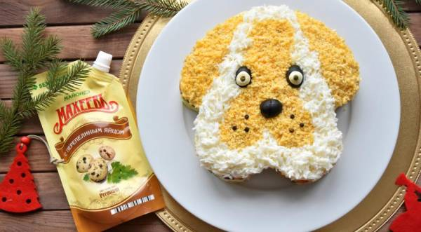Новогодний салат «Собачка», пошаговый рецепт с фото