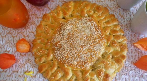 Пирог «Солнышко» с рисом и мясом, пошаговый рецепт с фото