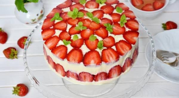 Клубничный торт Фрезье, пошаговый рецепт с фото