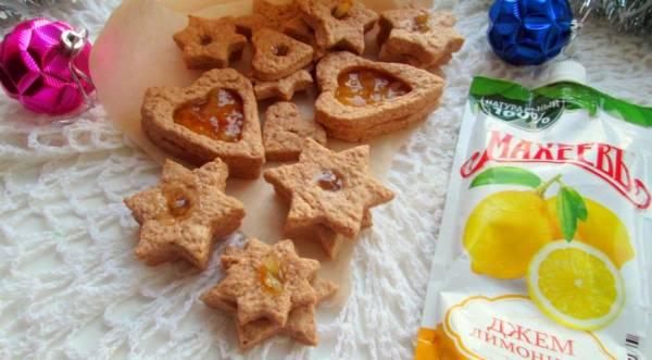 Новогоднее песочное печенье с лимонным джемом, пошаговый рецепт с фото