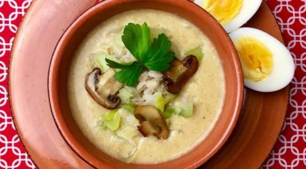 Овощной перловый суп-пюре с луком-пореем и шампиньонами, пошаговый рецепт с фото