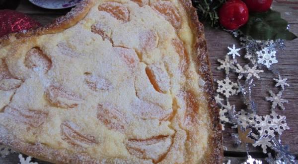 Творожное пирог с мандаринами, пошаговый рецепт с фото