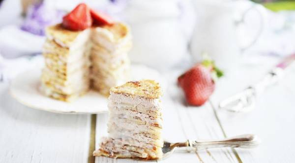 Блинный торт с творогом и сгущенкой., пошаговый рецепт с фото
