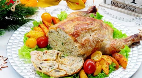 Курица, фаршированная блинами, пошаговый рецепт с фото