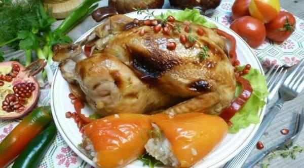 Курица,фаршированная сладким перцем с рисом, пошаговый рецепт с фото